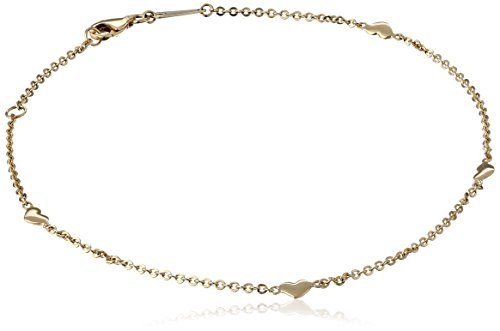 14k Yellow Gold High Polished Heart Adjustable Anklet, 9