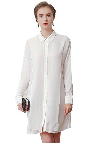 VOA Women's White Long Sleeve Silk Blouse Shirt Top B6503