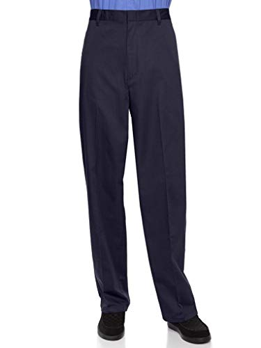 AKA Half Elastic Wrinkle Free Flat Front Mens Slacks - Relaxed Fit Twill Casual Pant