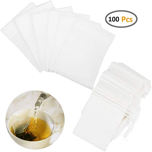 Loose Tea Accessories - Besego Disposable Drawstring Tea Filter Bags, Empty Natural Material Tea Infuser Bag for Herb& Tea Loose Leaf Pack of 100