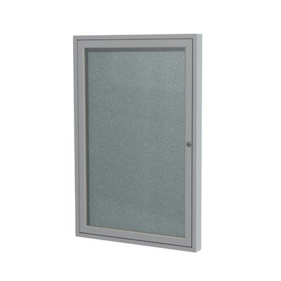 1 Door Outdoor Enclosed Bulletin Board Size: 2' H x 1'6'' W, Frame Finish: Satin, Surface Color: Stone