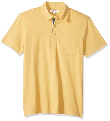 Goodthreads Men's Short-Sleeve Sueded Jersey Polo, Yellow, Medium (Banana Jersey)