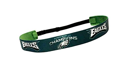 RAVEbandz Exclusive ADJUSTABLE Fashion Headbands (EAGLES SUPERBOWL LII CHAMPIONS) Non Slip Velvet Lined Sports Fitness Performance Hair Bands for Women and (Heart Eagle Head)