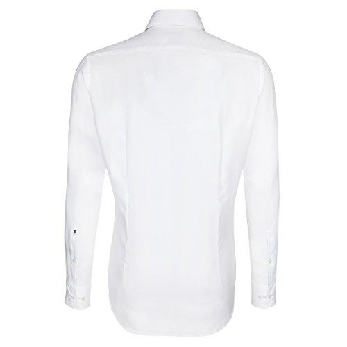 Seidensticker Herren Langarm Hemd Schwarze Rose Slim Fit Paul Panel weiß mit Patch 242826.01