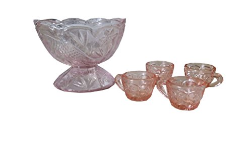 4PC Glass Floral Punch Bowl Set - Punch Bowl Pink