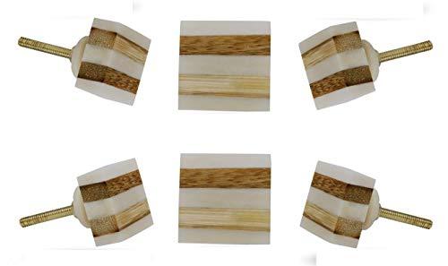 Set of 6 Striped Bone Square Drawer Knobs Kitchen Cabinet Dresser Pull