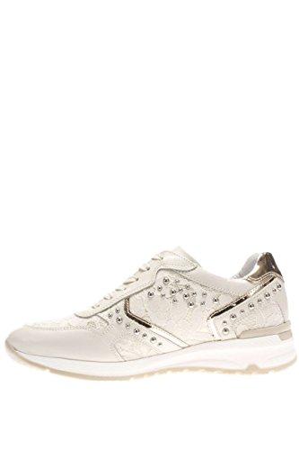 Nero Giardini mujer Sneaker P615095D-711 Sneaker piel y tirantes con tachuelas doradas, color blanco Latte