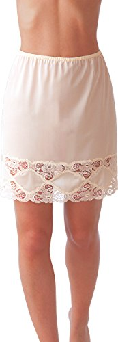 """Under Moments Classic Half Slip with Lace Details 18"""" (Beige-M)"""