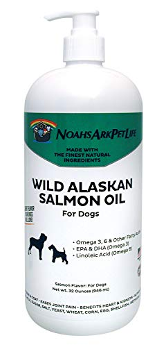 Noah's Ark Pet Life 32 oz LARGE SIZE Pure Wild Alaskan Salmon Oil Dogs, ALL NATURAL, Omega 3 for Dogs, Healthy Heart, Skin & Coat, Reduce Shedding, Pain Free Joints, EPA, DHA ~ Liquid Pump