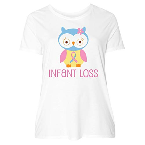 inktastic Infant Loss Awareness Owl Women's Plus Size T-Shirt 2 (18/20) White (Sids Pregnancy And Infant Loss Awareness Month)