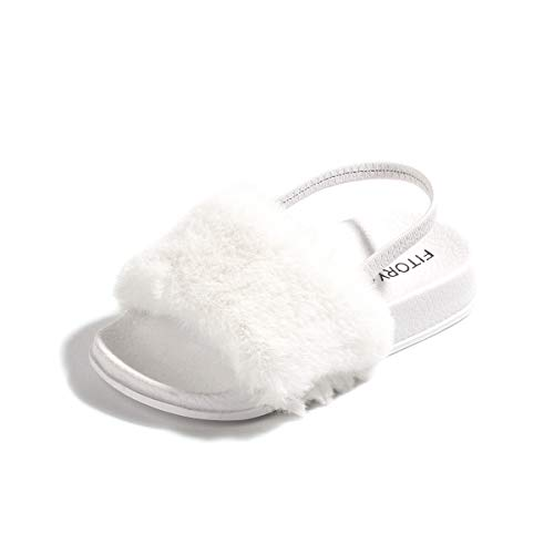FITORY Girls Sandals Toddler, Faux Fur Slides with Elastic Back Strap Flats Shoes for Kids (9, White)