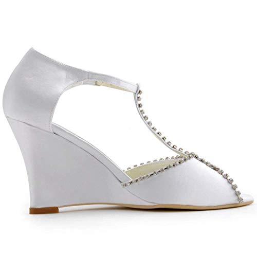 correa Zapatos Satén Noche Tacón 2 De Cuña Qiusa Señoras Alto color T Cristales Tamaño Reino Blanco Unido Boda EnHwgq