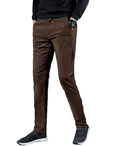 KLJR Men Stretchy Casual Corduroy Slim Fit Straight Leg Casual Pants Trousers Coffee 29