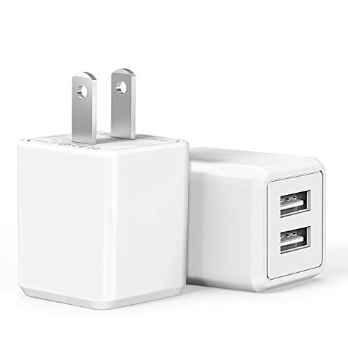 USB Wall Charger,Charger Adapter, Atizzy 2-Pack 2.1Amp Dual Port Fast Charger Plug Cube for iPhone X 8/7/6 Plus SE/5S/4S,iPad, iPod, Samsung, LG, HTC, Huawei, Moto, Kindle and More