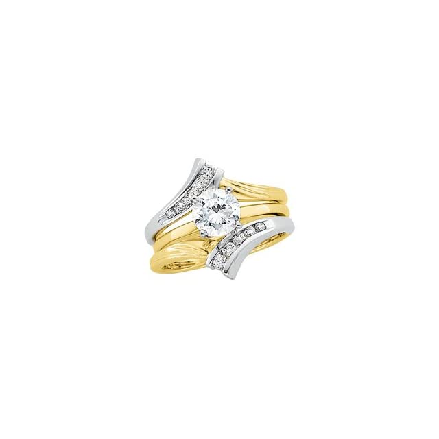 14kt White/Yellow 1/4 CTW Diamond Ring Guard