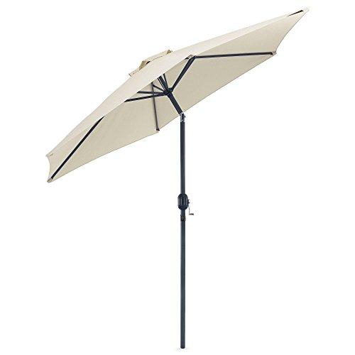 VonHaus 8.8 Feet (2.7meter) Steel Powder Coated Ivory Garden Patio Parasol Umbrella (Parasol Tilting)