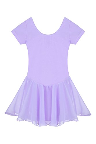 Arshiner Girls' Dance Leotard Ruffle Sleeve (140(Age for 7-8Y), (Dance Costumes Leotards)