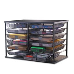 * 12-Compartment Organizer with Mesh Drawers, 23 4/5'' x 15 9/10'' x 15 2/5'', Black