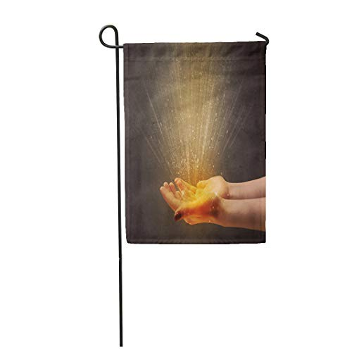 Semtomn Garden Flag 12x18 Inches Print On Two Side Polyester Belief Yellow Ray of Light Coming from Young Hand Aura Home Yard Farm Fade Resistant Outdoor House Decor Flag -
