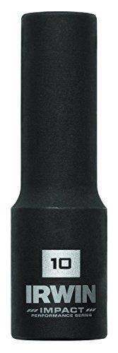 IRWIN Tools 1877483 Impact Performance Series 6-Point Deep Well Socket Bit, 10mm, 3/8-Inch Square Drive