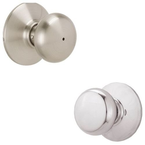 - Schlage F40-PLY Plymouth Privacy Lock Door Knob Set, Satin Nickel x Polished Chrome