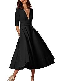 e7777ea3d5 Women s Elegant Cocktail Maxi Dress Deep V Neck 3 4 Sleeve Vintage Pleated  Dress