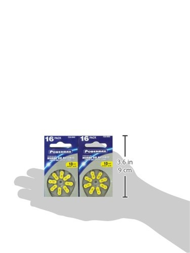 Powermax Size 10 Hearing Aid Batteries, Yellow Tab, Zinc Air Mercury-Free, HearRite, 64 Count by Powermax USA (Image #7)
