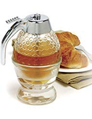 Dispenser Syrup Honey - NORPRO 780 Glass 1 Cup Bee Hive Honey Syrup Dispenser Jar With Stand