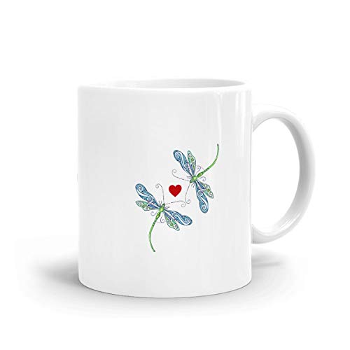 - Whimsical Dragonfly Mug, Ceramic White Coffee Mug with C-Handle Coffee Drink Container for Office Family