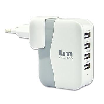 TM Electron TMUAD110 - Cargador con 4 Puertos USB, Color Blanco: Amazon.es: Electrónica