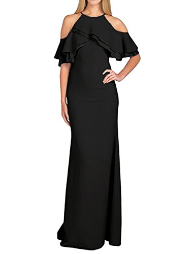 Shoulder Evening Amore Halter Wedding Chiffon Party Black Gown Off Dress Women's Bridal qzIwBz7U