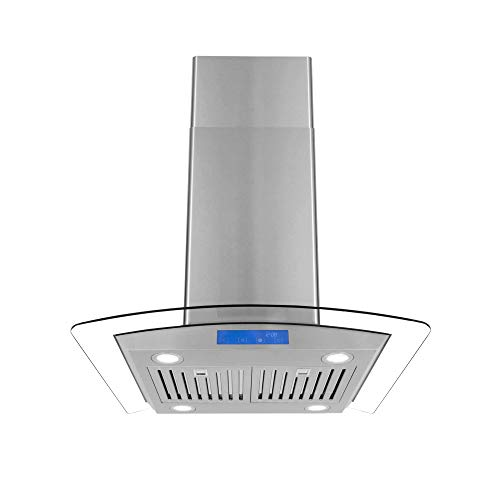 - Cosmo COS-668ICS750 30-in Island Range Hood 900-CFM, Ceiling Mount Chimney-Style Over Stove Vent with Light, Permanent Filter, 3 Speed Exhaust Fan Timer, Duct Convertible to Ductless (Stainless Steel)