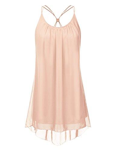 NINEXIS Women's V-Neck Spaghetti Strap Chiffon Dress PEACH L