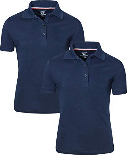 French Toast Girl's 2 Pack Uniform Short Sleeve Polo Shirts, Navy, X-Large 14/16