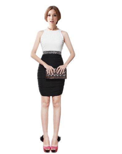 Sexyher Women'S Bicolour Jewel Neck Short Formal Cocktail (Lycra Jewel Neck Short)