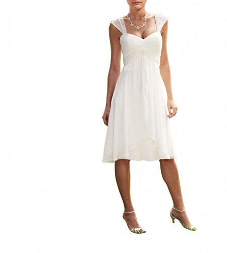 LOVEBEAUTY Women's Chiffon Short Wedding Dress Cocktail Party Dresses – 8, Ivory