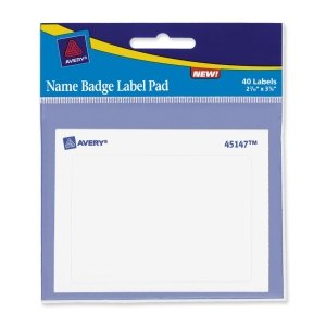 Avery® 45147 - NAME BADGE LABEL PADS, 2-7/16 X 3-3/8, WHITE, 40/PACK
