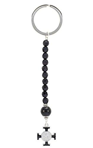 Black Enamel Saint Benedict Rosary Key Chain with Maltese Cross, 5 1/4 Inch