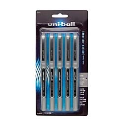 uni-ball Vision Liquid Ink Rollerball Pens, Fine Point, 0.7 mm, Silver Barrel, Black Ink, Pack of 5 Pens