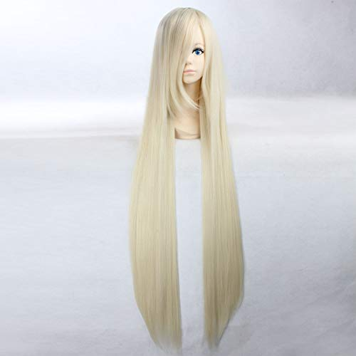 HOOLAZA Blonde Extra Long Straight Wig Vampire Knight Hiou Shizuka Chobits Chi Natalia Natasha Alfroskaya Minako Aino Sailor Venus for the Halloween Party Cosplay Wigs