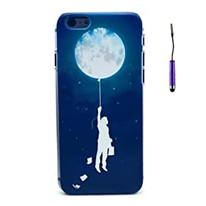 SHOUJIKE A Leaflets Man And The Moon with Starry Sky Pattern PC Hard Back Cover Case with Touch Pen for iPhone 6