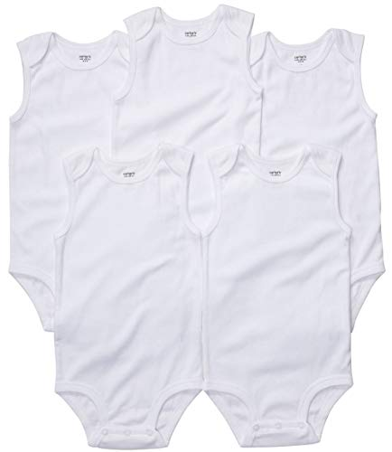 Carters Basic White SLEEVELESS Bodysuits (18 Months) 5 Pack