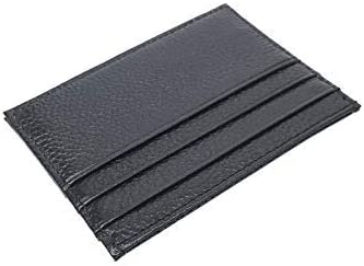 Black Slim Soft Sturdy Leather Thin Minimalist Front Pocket Credit Card Holder Wallet with 7 Card Slots