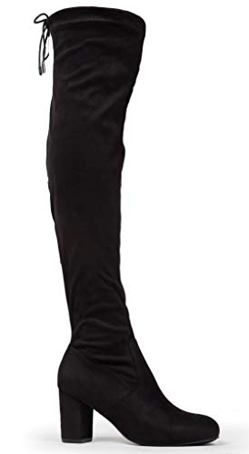 J. Adams Aspen Thigh High - Low Chunky Block Heel Drawstring Over The Knee Boot
