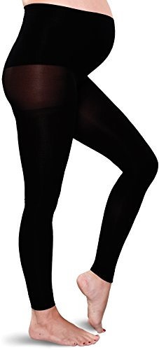 Preggers Maternity Footless Tights 10-15mmHg Gradient Compression Hosiery, Black, Large