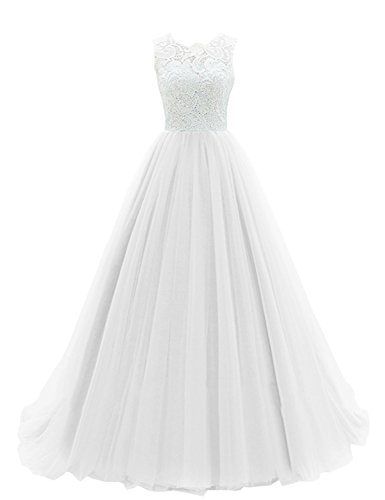 Women´s Lace Dress Bess Bridal Gown Formal Evening Prom Ball Long Ivory Tulle R7W6xqO