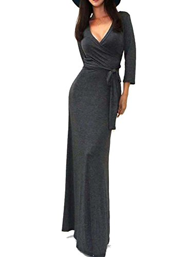 Morticia Dress Pattern (Vivicastle Solid V-Neck 3/4 Sleeve Wrap Waist Long Maxi Dress (Large,)