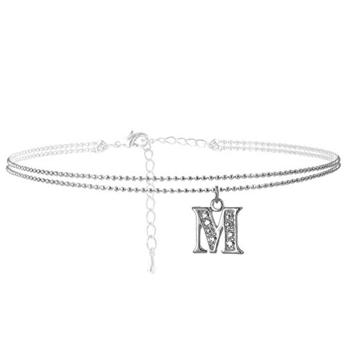 SpinningDaisy Double Line Rhinestone Crystal Initial Anklet -Perfect for Summer - (M-Silver)