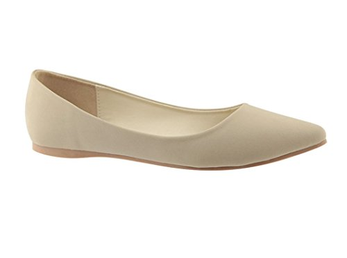 Bella Marie BellaMarie Angie-29 Women's Classic Pointy Toe Ballet Flats,Beige, (7) ()