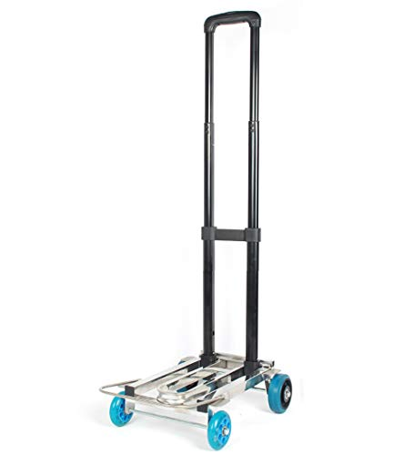Hand Truck Stainless Steel Frame with Telescoping Handle and Rubber Wheels Collapsible Convertible